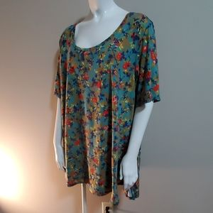 LuLaRoe Floral Patterned Short Sleeve Tee Shirt